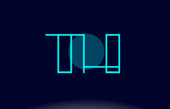 ligne bleue vecto du Th t h de calibre d'icône de logo de lettre d'alphabet de cercle Images libres de droits