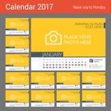 Ligne calendrier de bureau pendant 2017 années Photographie stock libre de droits