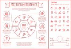 Ligne calibre d'aliments de préparation rapide d'Infographic de conception Images stock