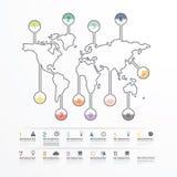 Ligne calibre de diagramme d'affaires du monde de style Images stock
