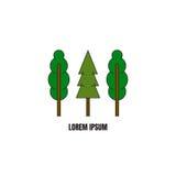 Ligne calibre de logotype de style avec des arbres Photo stock