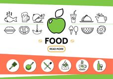 Ligne calibre de nourriture d'icônes Images libres de droits