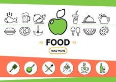 Ligne calibre de nourriture d'icônes Photos stock