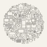 Ligne cercle de ménage d'icônes Photos stock