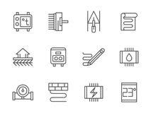 Ligne chaude icônes de noir de plancher réglées illustration stock