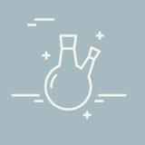 Ligne chimique icône de vecteur de flacon de fond rond Signe chimique de vecteur d'équipement de laboratoire Illustration de rech Image stock