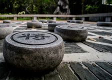 Ligne chinoise d'échecs horizontale Photo stock