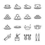 Ligne chinoise ensemble de culte d'ancêtre d'icône A inclus les icônes comme article, bougies, encensoir, nourriture, dessert, fr illustration de vecteur