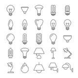 Ligne collection de lampe et d'ampoules d'icônes illustration libre de droits