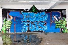 Ligne colorée d'art de graffiti les murs de rue Photo stock