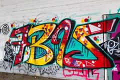 Ligne colorée d'art de graffiti les murs de rue Images stock