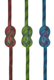 Ligne colorée de corde avec des noeuds Image libre de droits