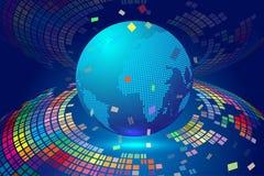 Ligne composition de point de carte de Worl représentant la signification internationale globale de connexion réseau image stock