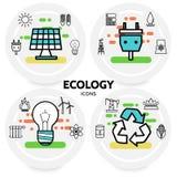 Ligne concept d'écologie d'icônes Images libres de droits