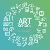 Ligne concept d'Art School Round Design Template d'icône Vecteur Images stock
