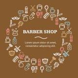 Ligne concept de Barber Shop Round Design Template d'icône Vecteur Photo libre de droits