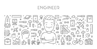 Ligne concept de vecteur de Web d'ingénieur Photo libre de droits