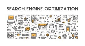Ligne concept pour l'optimisation de moteur de recherche Images libres de droits