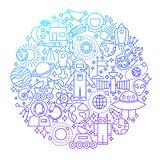 Ligne conception de l'espace de cercle d'icône Photo libre de droits