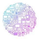 Ligne conception de ménage de cercle Image stock