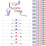 Ligne décorative et ensemble de conception de calligraphie Photos stock