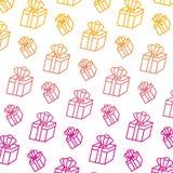 Ligne dégradée boîte-cadeau actuel avec le fond accessoire de couronne illustration libre de droits
