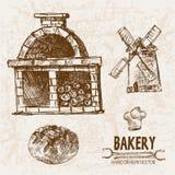 Ligne détail boulangerie de vecteur de Digital d'art Image stock