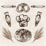 Ligne détail boulangerie de vecteur de Digital d'art Image libre de droits