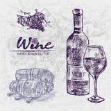 Ligne détail bouteille de couleur de Digital de vin d'art Illustration Stock