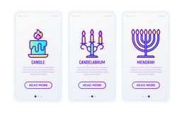 Ligne d'éclairage icônes : bougie, candélabre, menorah illustration de vecteur