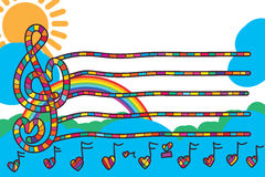 Ligne d'amour de note de musique carte d'invitation de calibre Photos libres de droits