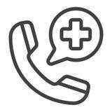 Ligne d'appel d'urgence icône, médecine et soins de santé illustration stock