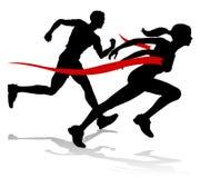Ligne d'arrivée de course de coureur silhouette d'athlétisme Photo stock