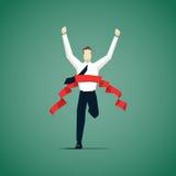 Ligne d'arrivée de croisement d'homme d'affaires, il est gagné une concurrence Image libre de droits