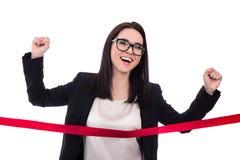 Ligne d'arrivée de croisement de femme d'affaires d'isolement sur le blanc Image libre de droits