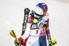 Ligne d'arrivée de slalom de dames de coupe du monde d'Audi FIS Images libres de droits