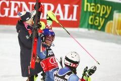 Ligne d'arrivée de slalom de dames de coupe du monde d'Audi FIS Photos stock