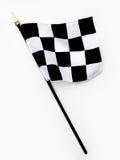 Ligne d'arrivée noire et blanche ondulée indicateur Checkered Photos stock