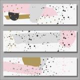 Ligne d'encre de bannière et ornement tracés à main levée de point Photographie stock libre de droits