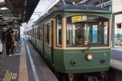 Ligne d'Enoden à Kamakura Photos stock