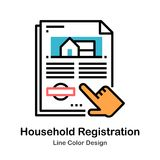 Ligne d'enregistrement de ménage icône de couleur illustration libre de droits