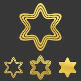 Ligne d'or ensemble de conception de logo de hexagram illustration stock