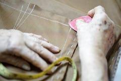 Ligne d'inscription de dessin de main de grand-maman pour le tissu de couture Photo stock