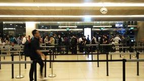 Ligne dans l'aéroport Singapour de Changi Image libre de droits