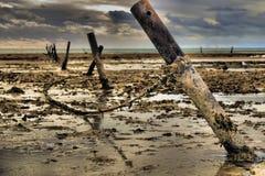 Ligne de barrière plage un jour nuageux dans Ningaloo Photos stock