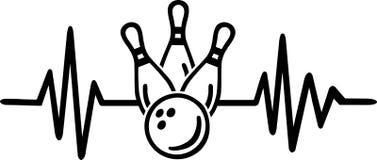 Ligne de battement de coeur de bowling avec le mot allemand illustration stock