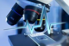 ligne de battement de coeur du rendu 3d sur un fond médical Image stock