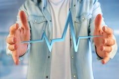 ligne de battement de coeur du rendu 3d sur une interface futuriste Images libres de droits
