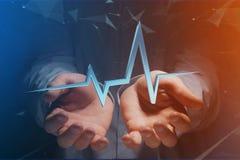 ligne de battement de coeur du rendu 3d sur une interface futuriste Photos libres de droits