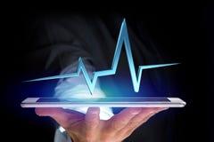 ligne de battement de coeur du rendu 3d sur une interface futuriste Photographie stock